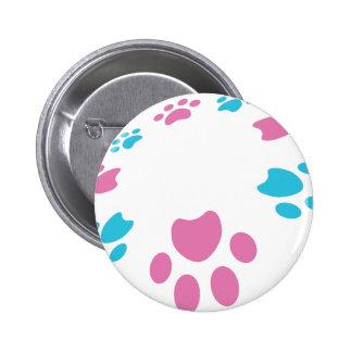 Pink Blue Paw Print Pet Pattern 6 Cm Round Badge
