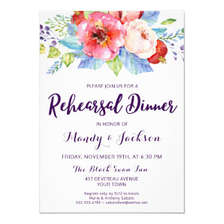 Pink Blue Plum Floral Rehearsal Dinner Invitation