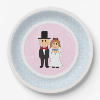 Pink, & Blue Polka Dots Bride and Groom Wedding Paper Plate