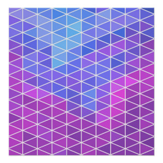 Pink, Blue & Purple Geometric Triangles Poster