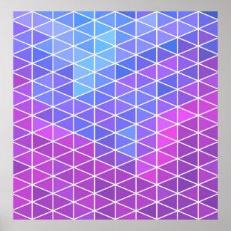 Pink, Blue & Purple Geometric Triangles Poster