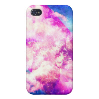 Pink Blue  Purple Nebula Dreamy Clouds Cover For iPhone 4
