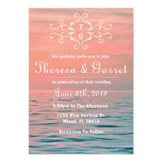 Pink, Blue & Purple Ombre Beach Invitation