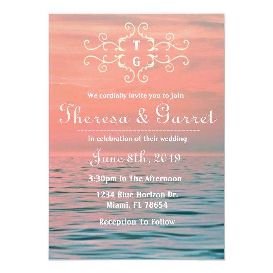 Pink, Blue & Purple Ombre Beach Invitation