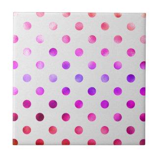 Pink Blue Purple Rainbow Metallic Foil Polka Dot Small Square Tile
