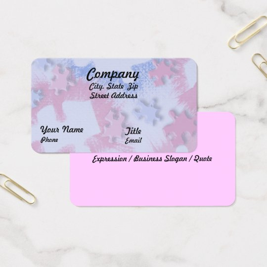 Pink & Blue Puzzle Pieces Business Card
