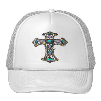 Pink Blue Religious Cross hat