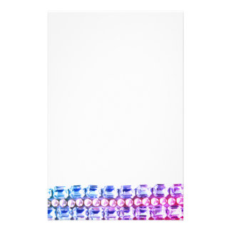 Pink & blue Rhinestones and pearls Personalized Stationery