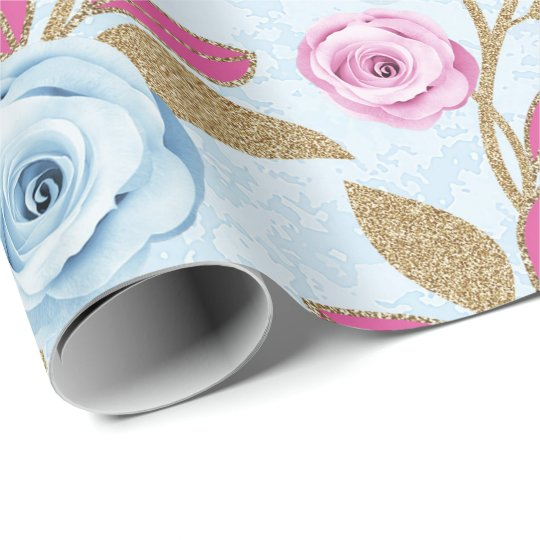 Pink Blue Rose Gold Glitter Baroque Antonietta Wrapping