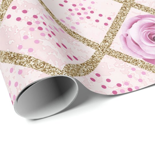 Pink Blue Roses Grill Glitter Gold Dots Chic