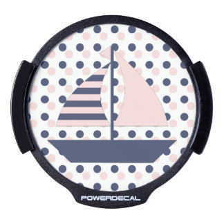 Pink Blue Sail Boat LED Window Decal