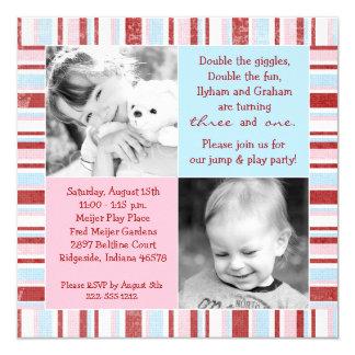 Pink & Blue Sibling Photo Birthday Invitation
