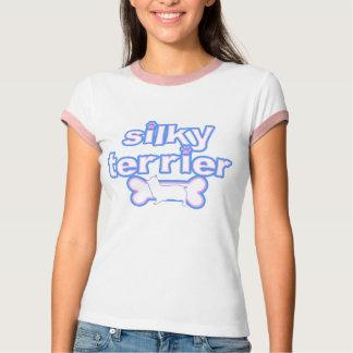 Pink & Blue Silky Terrier Women's Ringer T-Shirt