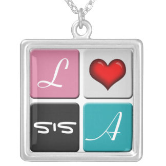 Pink Blue SIS Sisters Necklace
