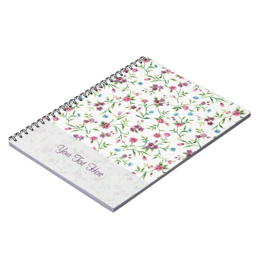 Pink & Blue Small Flowers Pattern Notebooks