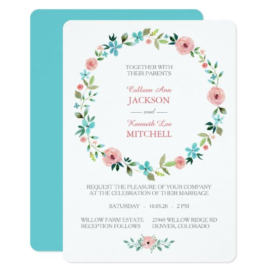 Pink Blue Spring Floral Wreath Wedding Invitation