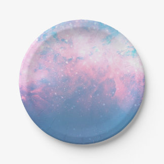 Pink & Blue Starry Sky Cosmic Galaxy Sky Celestial Paper Plate