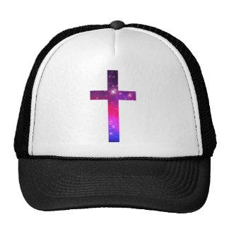 Pink Blue Stars Cross White Trucker Hats