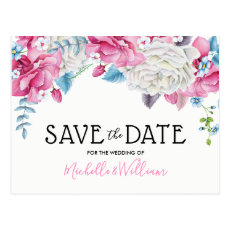 Pink Blue Summer Floral Save the Date