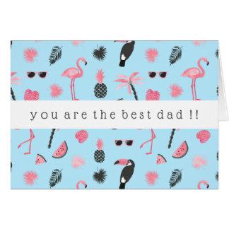 Pink & Blue Summer Tropical Pattern Card
