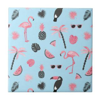 Pink & Blue Summer Tropical Pattern Tile