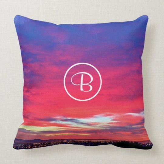 Pink & blue sunrise photo custom monogram pillow