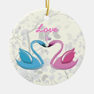 Pink blue swan love heart couple keepsake ornament