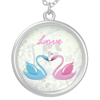 Pink blue swan love heart couple silver necklace