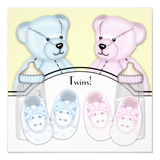 Pink Blue Teddy Bear Twin Baby Shower Card