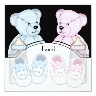 Pink Blue Teddy Bear Twin Baby Shower Invitations