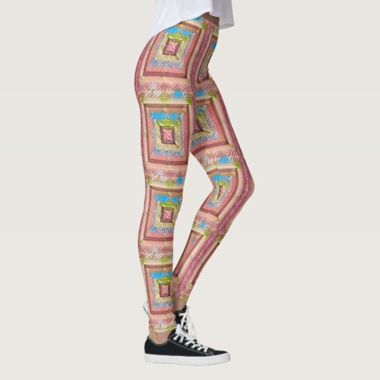 Pink Blue Textile Abstract Pattern Leggins Leggings