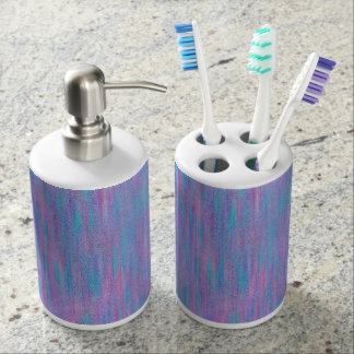Pink & Blue Texture Stripe Bath Accessory Set