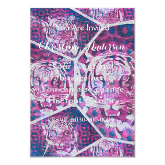 Pink Blue Tiger Collage 9 Cm X 13 Cm Invitation Card