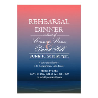 Pink Blue Twilight Beach Rehearsal Dinner Personalized Invitations
