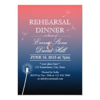 Pink & Blue Twilight Dandelion Rehearsal Dinner 13 Cm X 18 Cm Invitation Card