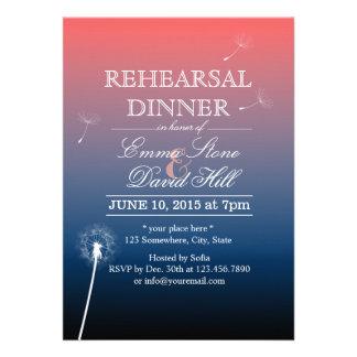 Pink Blue Twilight Dandelion Rehearsal Dinner Invitation