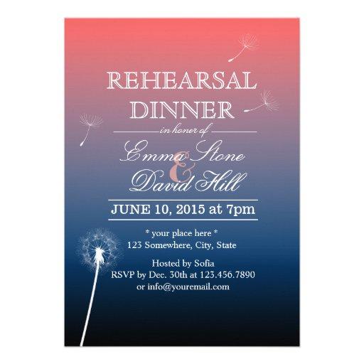 Pink & Blue Twilight Dandelion Rehearsal Dinner Invitation