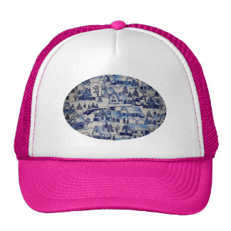 Pink Blue Vintage Retro Christmas Xmas Village Mesh Hats