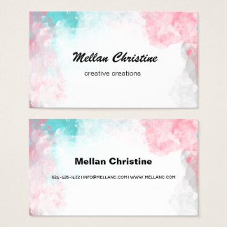 Pink Blue Watercolor Business Card