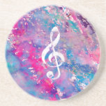 Pink Blue Watercolor Paint Music Note Treble Clef