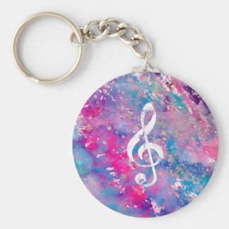 Pink Blue Watercolor Paint Music Note Treble Clef Basic Round Button Key Ring