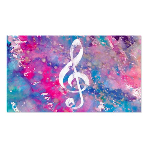 Pink Blue Watercolor Paint Music Note Treble Clef Business Card Template