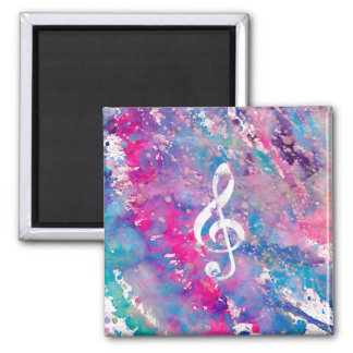 Pink Blue Watercolor Paint Music Note Treble Clef Magnet