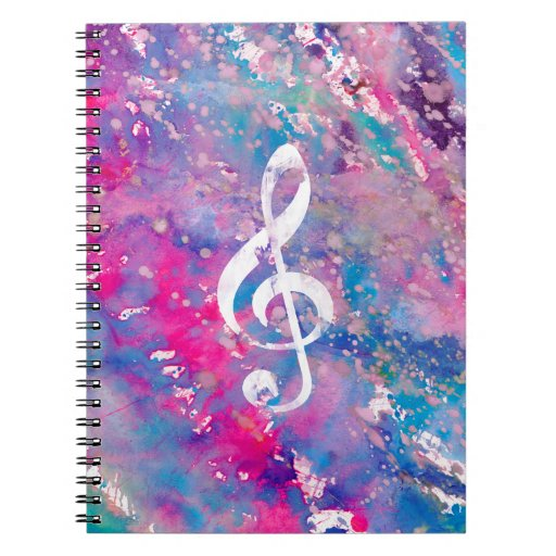 Pink Blue Watercolor Paint Music Note Treble Clef Spiral Notebook