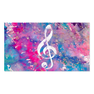 Pink Blue Watercolor Paint Music Note Treble Clef Pack Of Standard Business Cards