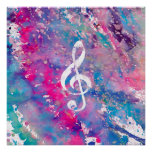 Pink Blue Watercolor Paint Music Note Treble Clef Poster
