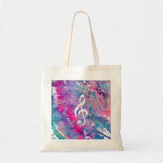 Pink Blue Watercolor Paint Music Note Treble Clef Tote Bag