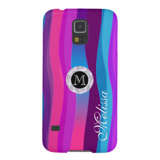 Pink-Blue Waves with Circle Diamond, Personalized Galaxy S5 Covers