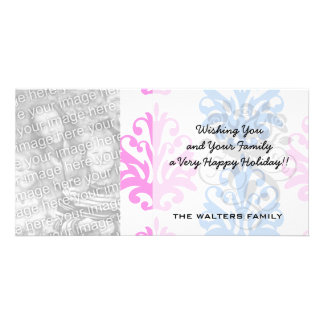 pink blue white damask photo card template