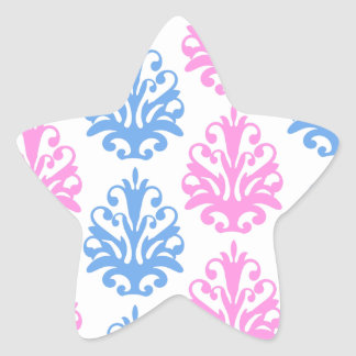 pink blue white damask star sticker